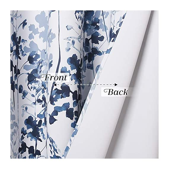 "KGORGE Printed Blackout Curtains with Pattern - Sunlight/UV Ray Reducing Grommet Top Window Draperies, Elegant Watercolor Foliage Patterned Art Gallery/Salon Decoration (Blue, W52 x L63, 2 Pcs) - READY MADE: Sold in pair, KGORGE Printed Blackout Curtains measure 52"" wide by 63"" long per panel. 8 silver grommet top fit any standard or decorative curtain rods up to 1.5"". Easy and convenient to hang as soon as you receive it. WATERCOLOR PAINTING: The vivid foliage pattern on white background gives the curtain an exclusive look with natural and exuberant sense. The watercolor gradient-blue is just perfect, lending artistic sophisticated feeling to your rooms. ROOM DARKENING: Providing 80%-95% sunlight/UV ray blocking, the curtains serve well for night shift workers and late sleepers. It also can fulfill your different needs like temperature balance, noise reduction and privacy protection... - living-room-soft-furnishings, living-room, draperies-curtains-shades - 512YZcEswuL. SS570  -"