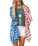 MuQing Women's American Flag US Flags Kimono Bathing Suit/Swimsuit Cover ups Beachwear Cardigan Loose Shirt Blouse