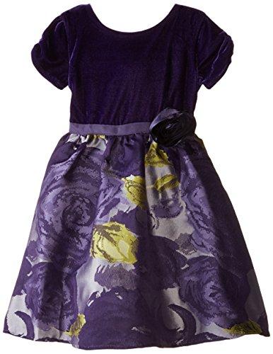 US Angels Little Girls' Toddler Dress Floral Brocade Skirt with Velvet Bodice, Eggplant, 3T - Bodice Print Skirt