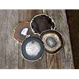 Airblasters Black color 3.5-4 inch Natural Sliced Agate Coaster Set of 4