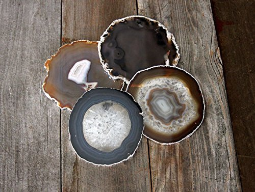 Airblasters Black color 3.5-4 inch Natural Sliced Agate Coaster Set of 4 by Airblasters (Image #2)