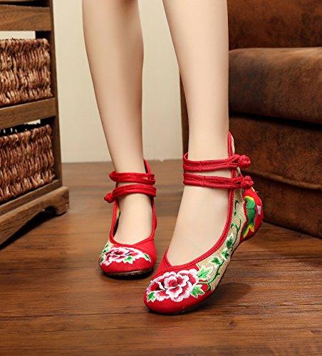 Y&M Zapatos bordados, lino, lenguado de tendón, estilo étnico, zapatos femeninos, moda, cinturón cómodo, doble Red