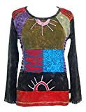 257 Rib Cotton Funky Embroidered Bohemian Gypsy Top Blouse - X-Large