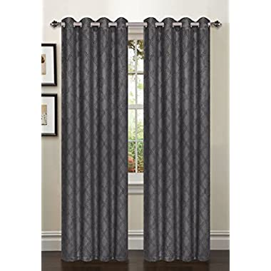 Bella Luna Bella Luna Newbury Lattice Room Darkening Extra Wide 54 x 84 in. Grommet Curtain Panel, Charcoal