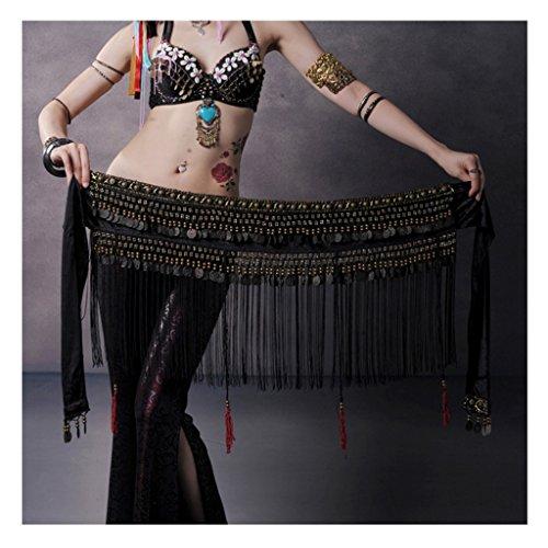 Fringe Hip Belt (Pilot-trade Women's Big Noise Belly Dance Tribe National Style Belt Tassel Hip Scarfs Velvet Waist)