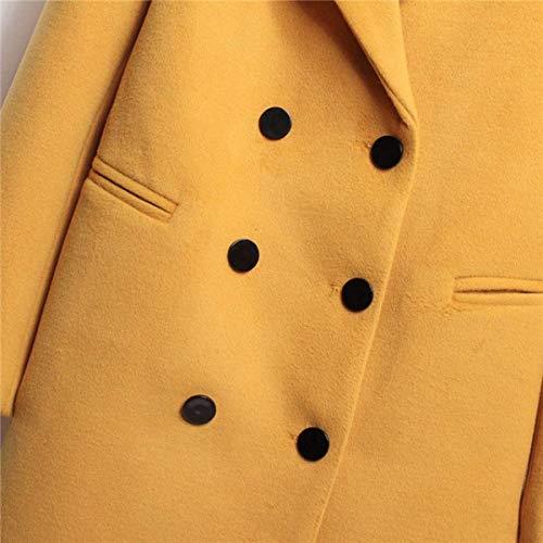 Donna Man Cappotto Colori Eleganti Giaccone Invernali Lana Fashion Solidi Lunga Giallo rxaCrwq