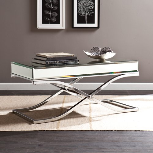 Southern Enterprises Ava Mirrored Cocktail Table, Chrome Frame Finish by Southern Enterprises