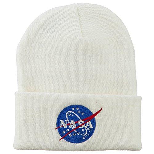 E4hats NASA Insignia Embroidered Long Beanie - White OSFM ()