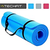 TechFit Yoga Mat Extra Thick 15mm with Carry Straps, 180x60 cm, Non Slip, Perfect for Fitness, Gym, Floor Exercises, Camping, Aerobic, Stretching, Abs, Pilates (Blue)