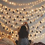 Photo Clips Lights, Fairy Window Curtain Wall LED String Lights for Hanging Artwork Photos Memos and Paintings, for Bedroom, Dorm, Home Décor, Battery Operated (Warm White) (40 Clips)