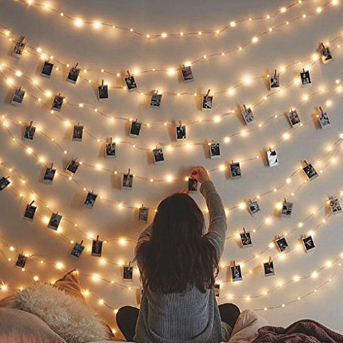 (LED Photo Clip String Lights, Fairy Dorm Curtain Wall Hangings for Artwork Paintings Dorm Bedroom Christmas Birthday Party Wedding Home Indoor/Outdoor Decor, Battery Operated)