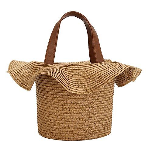 Sac de plage dentelle sac en forme de paille tressée Sac épaule unique tissé sac de plage Kaki