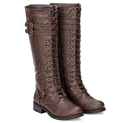 ILLUDE Womens Knee High Lace up Buckle Military Combat Boots (7.5, Brown)
