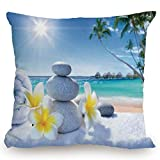 Throw Pillow Cushion Cover,Spa Decor,Spa Treatment on Tropical Beach Sunshines Palm Trees Bungalows Wooden Deck,Decorative Square Accent Pillow Case