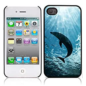 Dolphins Hard Plastic and Aluminum Back Case for Apple iphone 4 4S