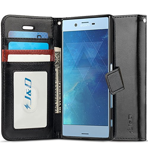 J&D Case Compatible for Xperia XZs Case, [Wallet Stand] [Slim Fit] Heavy Duty Protective Shock Resistant Flip Cover Wallet Case for Sony Xperia XZs Wallet Case - Black (Sony Xperia J Case)