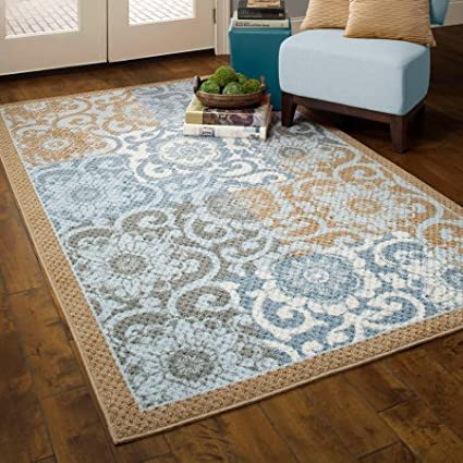 Blue//Brown 26 x 310 Better Homes and Gardens Pretty Peony Textured Print Rug Program