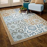 Better Homes and Gardens Pretty Peony Textured Print Rug Program, Blue/Brown, 2'6'' x 3'10''
