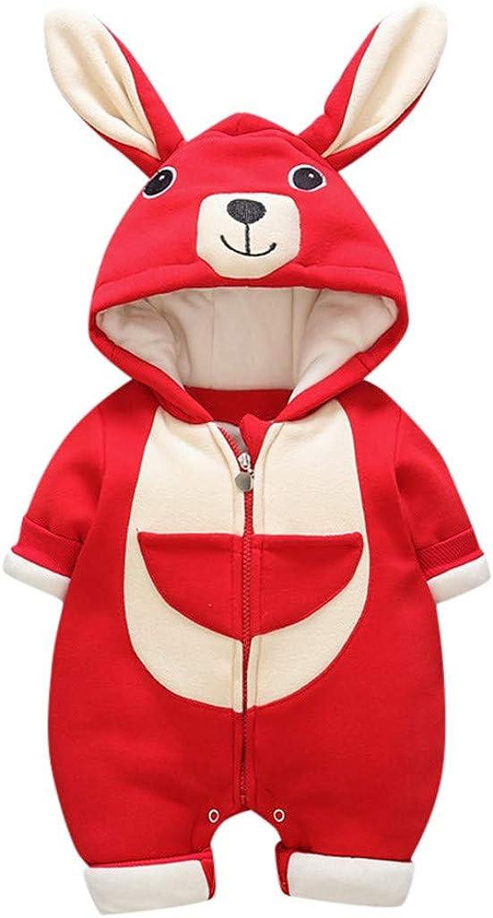 Hoodie Zipper Jumpsuit Winter Thicken Warm Outfit GorNorriss Baby Girl Cartoon Rabbit Ear Footies Romper