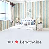"Wood Peel and Stick Wallpaper 17.8""x197"" Self-Adhesive Removable Vintage Wooden Stripes Wallpaper Decor Wall Contact Paper Decals Decoration Textured Panel for Living Room Bedroom"