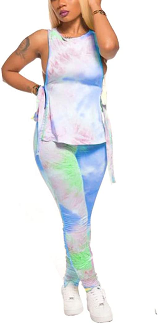 Women Sexy 2 Piece Outfit Tie-Dye Clubwear Lace-up Tops Ruched Pants Loungewear