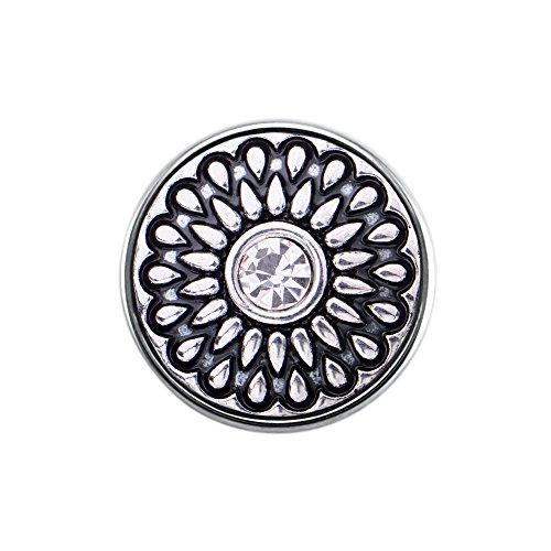 Quiges, Eligo Bijoux 18mm plaqué argent CZ ornement bouton-pression pour Quiges, Eligo 18mm accrochage Bracelets Button