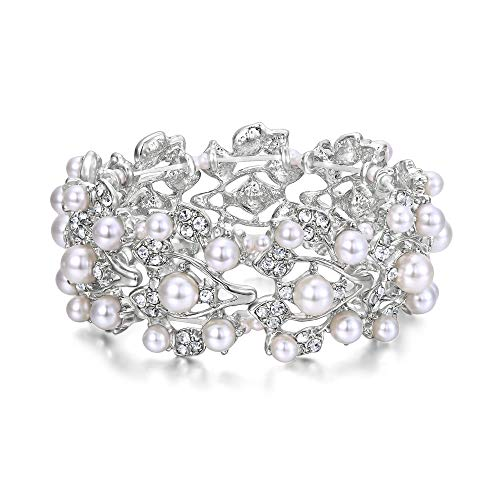 EVER FAITH Silver-Tone Crystal Cream Simulated Pearl 1920's Style Leaf Stretch Bracelet Clear