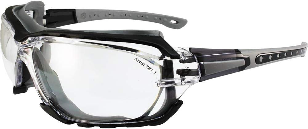 Birdz Eyewear Gasket Safety Padded Motorcycle Sport Sunglasses Grey with Clear Lens