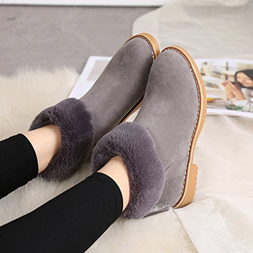 Women Boots, Hatop Winter Snow Women Boot Australia Ankle Flock Feather Slip On Ankle Warm Boots Gray