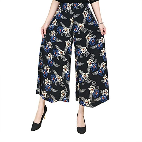 NJunicorn Uncle Womens Comfy Elastic Waist Cotton&Linen Floral Culottes Wide Leg Pants