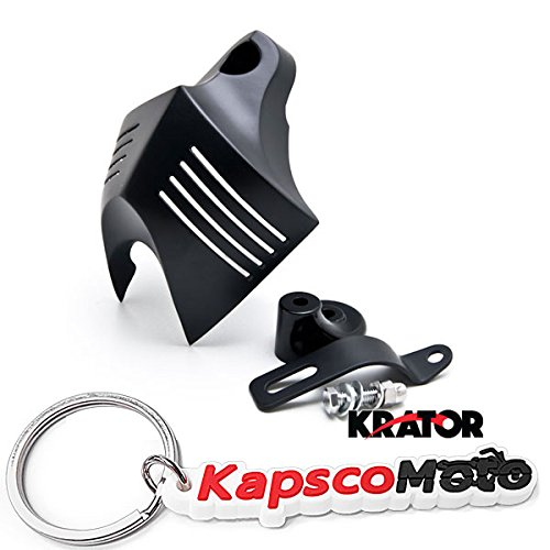 Krator Motorcycle Black Big Twins Horn Cover Stock Cowbell Horns For Harley Davidson Black Big Twin Horn Cover Stock Cowbell Horns + KapscoMoto Keychain]()