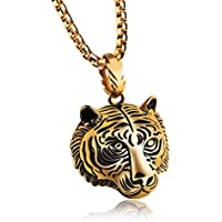Iuhan Cool Stainless Steel 60CM Men Pendant Necklace Of Animal Tiger Exterior Men Necklace (A, Gold)