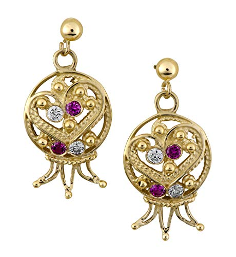 (14K Yellow Gold Delicate Filligree Ruby And White Lavender Pomegranate)
