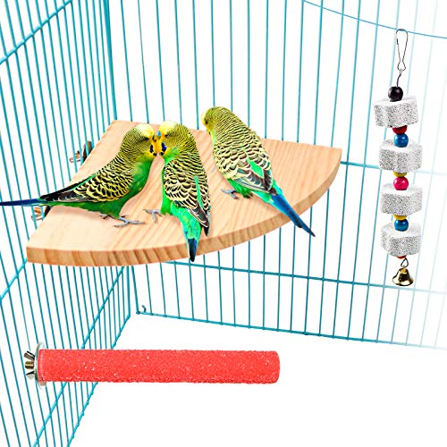 S-Mechanic Bird Perch Platform Wood Stand for Small and Medium Parrots,Parakeet,Conure,Finch,Budgie Cage Accessories Training Toys Sector (Style-1)