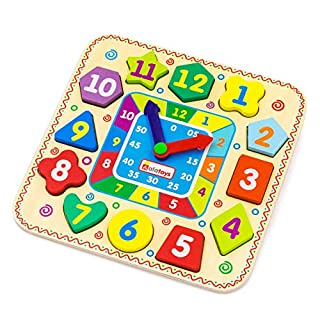 Alatoys Toddler Clock Learning Time Today Wooden Educational Toy Board Montessori Kids Wood Toys for First Teaching Clocks