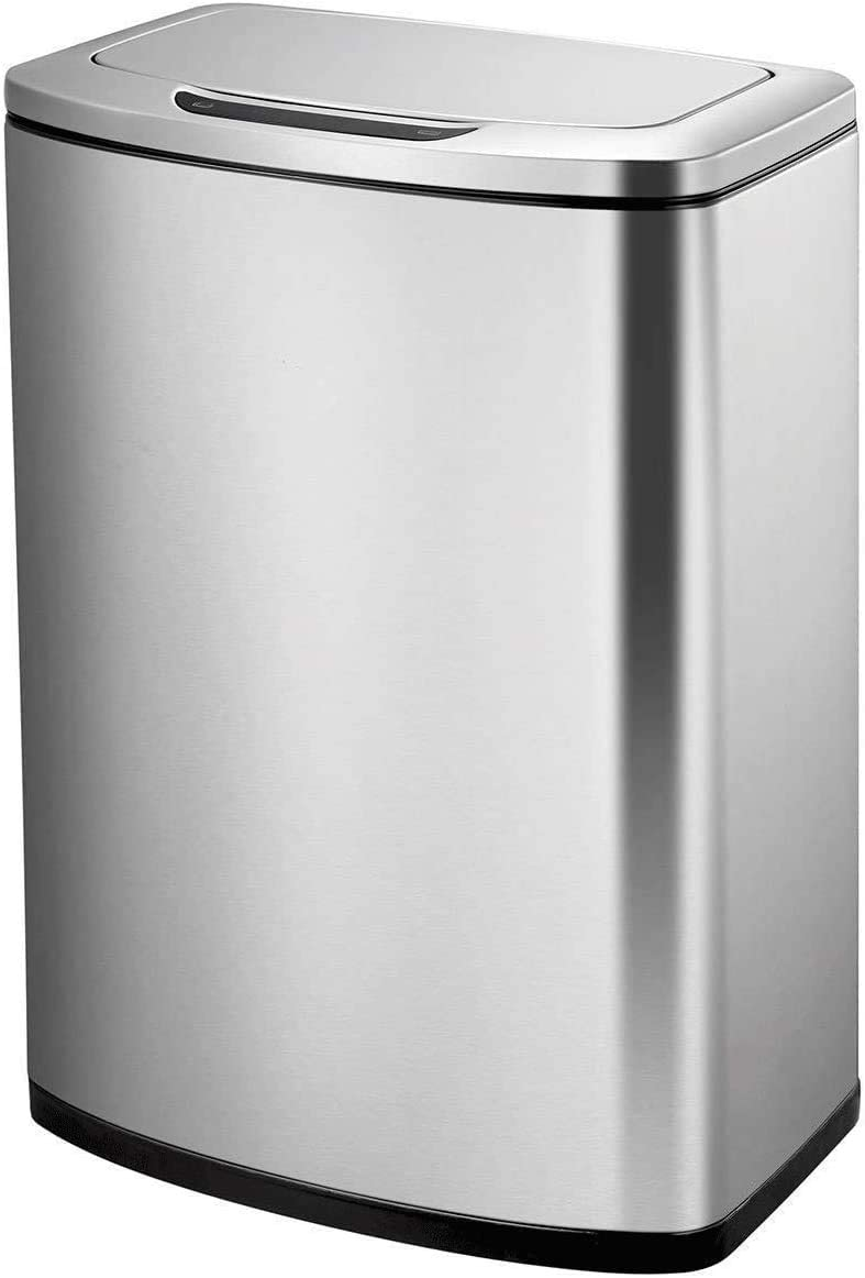 medium Chrome Sensible Eco Living ECO Stainless Steel Motion Sensor and Liner Bin 47l