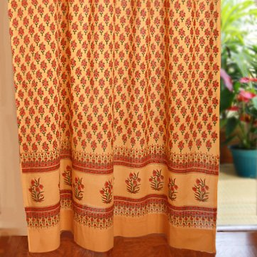 Saffron Marigold - Indian Summer - Orange Paisley Indian Sari Inspired Hand Printed - Sheer Cotton Voile Curtain Panel - Tab Top or Rod Pocket - (46