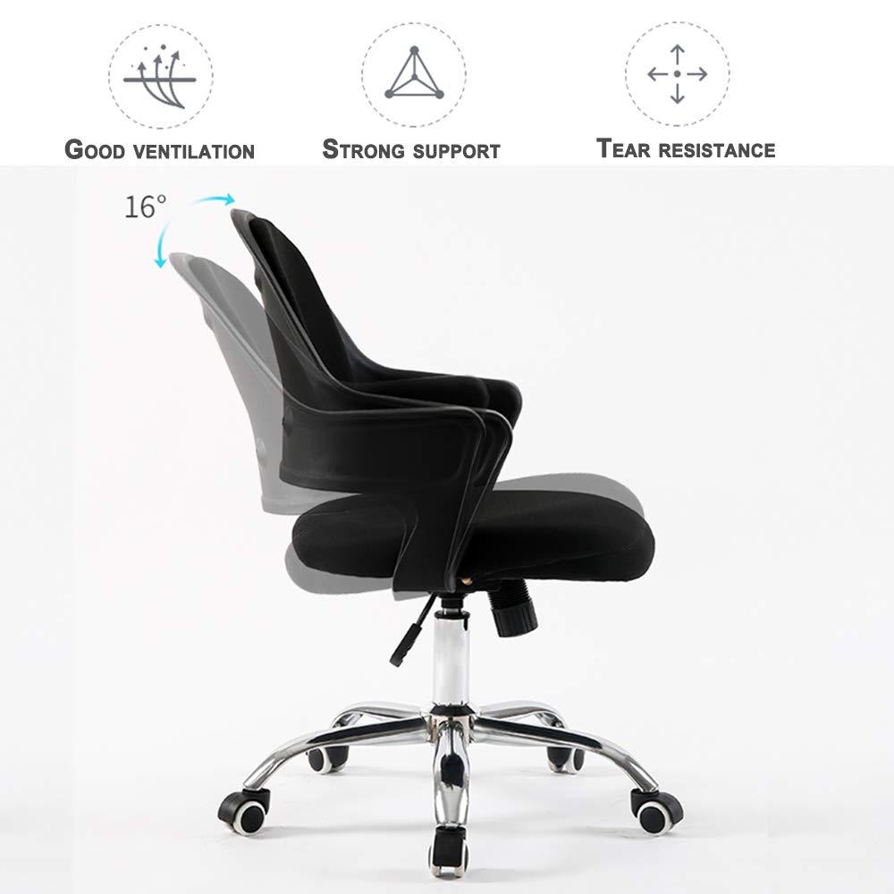 Svängbar kontorsskrivbordsstol justerbar höjd med armstöd och tyst Caster-uppgift stol mikromocka skydd hem/kontorsmöbler Orange