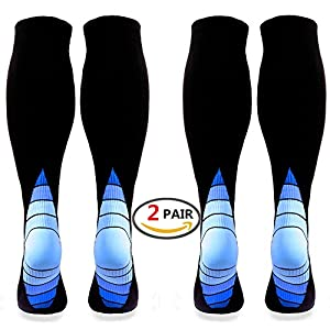 (2 pairs)Compression Socks / Stockings for Men & Women,Better Blood Circulation, Prevent Blood Clots, Speed Up Recovery BEST Graduated Athletic F (Black & Blue L/XL (Women 5.5-13 / Men 7-13.5) 2 PAIR)