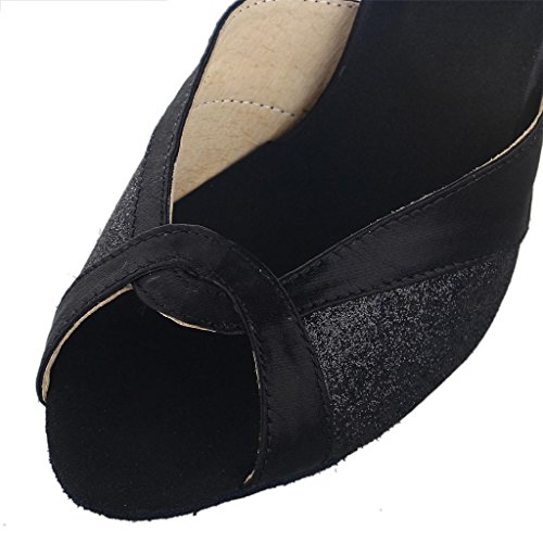 Jia Jia Y20521 Latin Women's Sandals 2.7'' Flared Heel Super Satin with Sparkling Glitter Dance Shoes Black PILRqYh7
