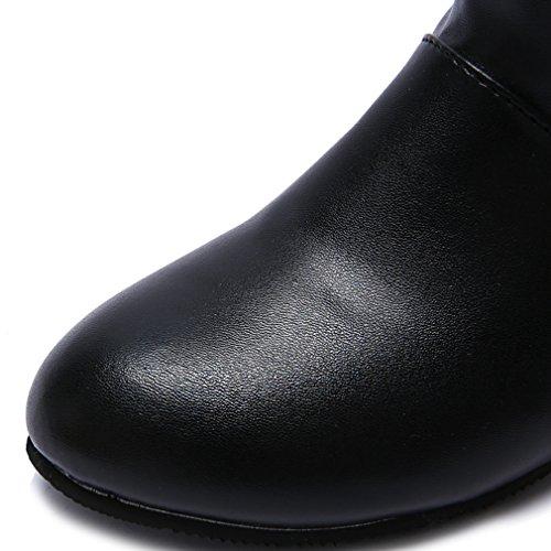 Blivener Donna Casual Stivali Alti Da Equitazione Tirare Su Nero