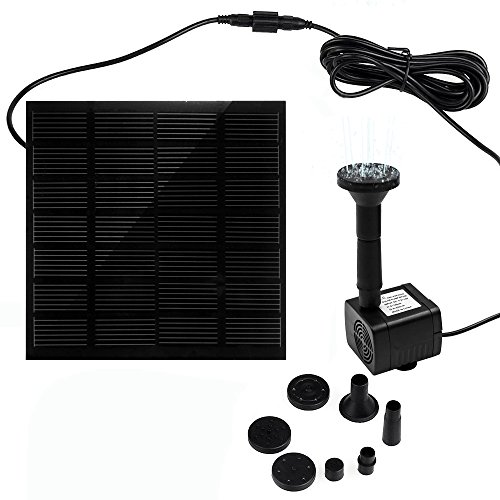 Ankway Solar Fountain Water Pump 1.2W 3M/9.8ft Wire Length Solar Water Pump for Ponds Bird Bath Solar Powered Fountains Kit for Garden & Pool Submersible Fountain Pump (Submersible Fountain Pump Kit)