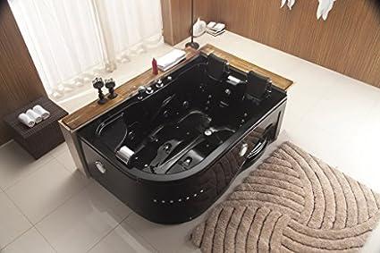Dos 2 persona Whirlpool masaje Hidroterapia negro esquina bañera de hidromasaje con libre mando a distancia