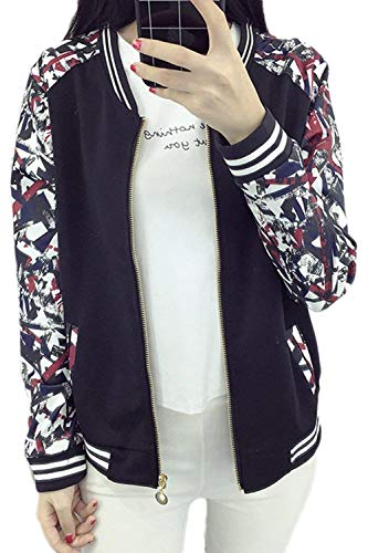Fashion Festivo Donna Giacca Moda Lunga Baseball Primaverile Black2 Semplice Stampa Tempo Con Glamorous Libero Cappotto Cerniera Fiore Elegante Di Outerwear Manica Giaccone Autunno xpYYPndwq