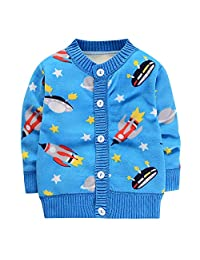 Theshy Toddler Infant Baby Boys Girls Cartoon Print Tops Button Sweaters Warm