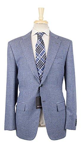 Kiton Napoli UG206 Blue Check Cashmere Blend Sport Coat Size 58/48 Reg Drop 7