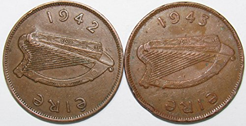 Irish Coin Set - IE 1942 & 1943 Lot of 2 Ireland One Penny Coins Fine+/Fine
