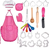 XITANGOU Toddler Cooking and Baking Set with Apron, Chef Hat, Recipe Cards, Cooking Mitt, Utensils for Girls