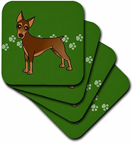 3dRose CST/_40906/_2 Cute Doberman Pinscher Red Coat Cartoon Dog Green with Pawprints Soft Coasters Set of 8