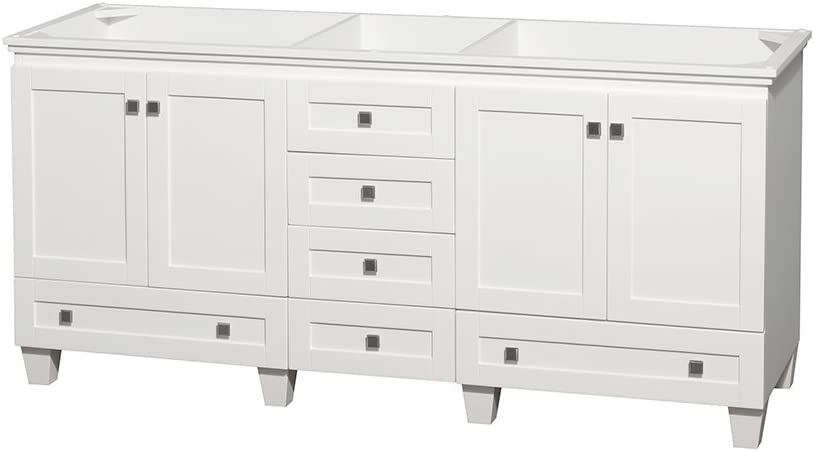 Wyndham Collection Acclaim 72 Inch Double Bathroom Vanity In White No Countertop No Sinks And No Mirrors Amazon Com